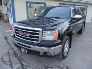 Used 2013 GMC Sierra 1500 LOADED SLT EDITION 5 PASSENGER 5.3L - VORTEC.. 4X4.. CREW-CAB.. SHORTY.. LEATHER.. HEATED/AC SEATS.. TRAILER BRAKE.. POWER FOLDING MIRRORS.. for sale in Uxbridge, ON