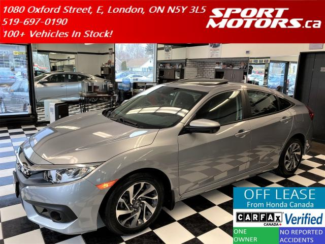 2018 Honda Civic EX+Lane Keep+Camera+Apple Play+Roof+Accident Free