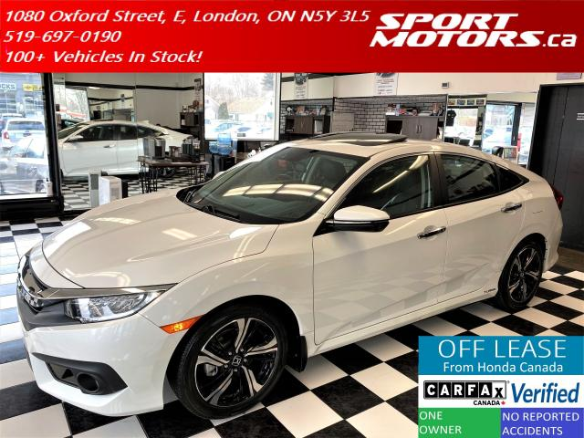 2017 Honda Civic Touring+Leather+Roof+Lane Keep+Apple+Accident Free