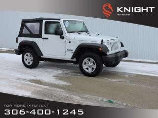 Used 2018 Jeep Wrangler JK Sport 4x4 2-Door | Low KM | Black Sunrider Soft Top | Sport bar with full padding for sale in Weyburn, SK