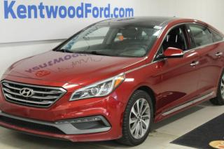 Used 2015 Hyundai Sonata 3 Mos Deferral! *oac | sport with a sunroof, heated power leather seats, heated steering wheel, heated rear seats and a back up cam for sale in Edmonton, AB