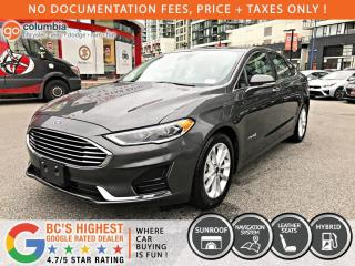 Used 2019 Ford Fusion Hybrid SEL Hybrid - No Accident / Local / Nav / Sunroof / Leather for sale in Richmond, BC
