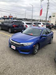 Used 2016 Honda Civic Accident Free, One Owner Civic LX Leased New Right Here at Waterloo Honda! Certified Powertrain Warr for sale in Waterloo, ON