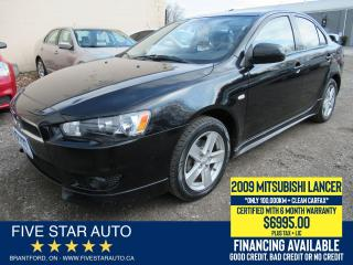 Used 2009 Mitsubishi Lancer SE Sport *Clean Carfax* Certified w/ 6Mth Warranty for sale in Brantford, ON