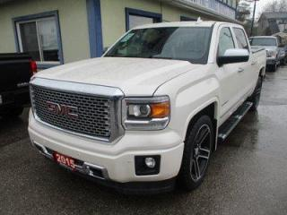 Used 2015 GMC Sierra 1500 LOADED DENALI EDITION 5 PASSENGER 5.3L - VORTEC.. 4X4.. CREW-CAB.. SHORTY.. NAVIGATION.. LEATHER.. HEATED/AC SEATS.. BACK-UP CAMERA.. SUNROOF.. DVD.. for sale in Bradford, ON