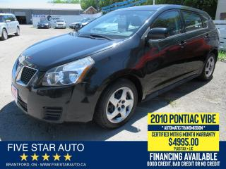 Used 2010 Pontiac Vibe Certified w/ 6 Month Warranty for sale in Brantford, ON