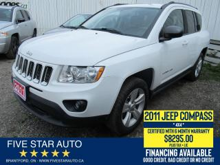 Used 2011 Jeep Compass North 4X4 - Certified w/ 6 Month Warranty for sale in Brantford, ON