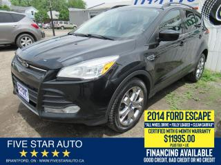 Used 2014 Ford Escape 4WD SE *Clean Carfax* Certified + 6 Month Warranty for sale in Brantford, ON
