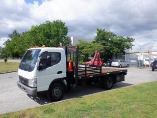 Used 2008 Mitsubishi Fuso FE 180 Flat Deck 14 foot Diesel with Crane for sale in Burnaby, BC