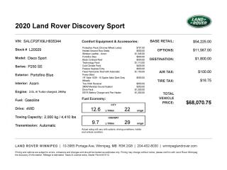 New 2020 Land Rover Discovery Sport SE | 2.0L i4 Turbo-charged, 246 hp for sale in Winnipeg, MB
