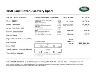 New 2020 Land Rover Discovery Sport R-Dynamic HSE MHEV *Active Courtesy Vehicle for sale in Winnipeg, MB