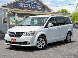 Used 2018 Dodge Grand Caravan Crew,ECON,R/V CAM,B.TOOTH,USB,HEATED SEATS+S/WHEEL for sale in Orillia, ON