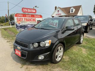Used 2016 Chevrolet Sonic LT fully loaded with Navigation, Moonroof, Bluetooth for sale in Brantford, ON