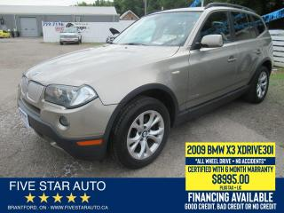 Used 2009 BMW X3 30i AWD *No Accidents* Certified + 6 Mth Warranty for sale in Brantford, ON