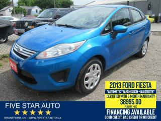 Used 2013 Ford Fiesta SE - Certified w/ 6 Month Warranty for sale in Brantford, ON