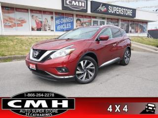 Used 2016 Nissan Murano Platinum  AWD 360-CAM ADAP-AC CW CS ROOF for sale in St. Catharines, ON