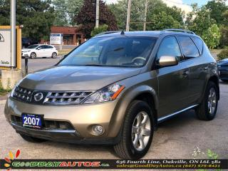 Used 2007 Nissan Murano SE|LOW KM|NO ACCIDENT|NAVI|AWD|SUNROOF|CERTIFIED for sale in Oakville, ON