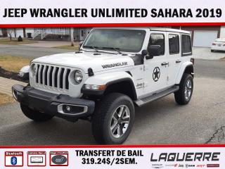 Used 2019 Jeep Wrangler Sahara* TRANSFERT DE BAIL 319.24$/2 SEMAINES* for sale in Victoriaville, QC