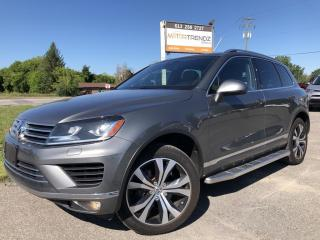 Used 2017 Volkswagen Touareg 3.6L Wolfsburg Edition Wow! NAV, AWD, Heat Steering, Pano Roof, Heated and Cooled Leather and More! Lane Departure and Blin for sale in Kemptville, ON