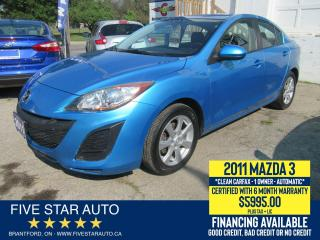 Used 2011 Mazda MAZDA3 GX *Clean Carfax* Certified w/ 6 Month Warranty for sale in Brantford, ON