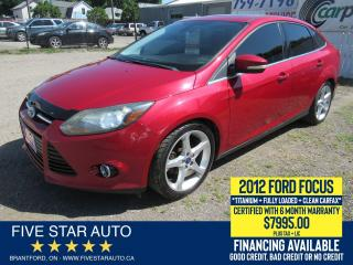 Used 2012 Ford Focus Titanium *Clean Carfax* Certified + 6 Mth Warranty for sale in Brantford, ON