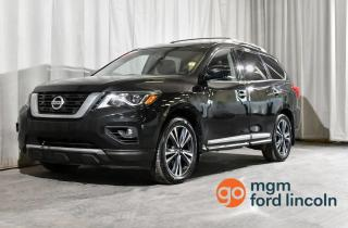 Used 2017 Nissan Pathfinder PLATINUM 4WD | 7-PASSENGER SEATING | DUAL DVD SCREENS | NAVIGATION | HEATED + COOLED FRONT SEATS | BACKUP CAMERA + MORE!! for sale in Red Deer, AB