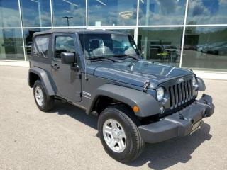 Used 2018 Jeep Wrangler JK 2 Door Sport 4x4 MANUAL 1 OWNER, Bluetooth, Cruise for sale in Ingersoll, ON