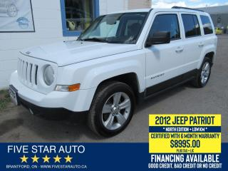 Used 2012 Jeep Patriot North Edition - Certified w/ 6 Month Warranty for sale in Brantford, ON