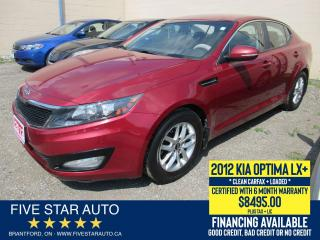 Used 2012 Kia Optima LX+ *Clean Carfax* Certified w/ 6 Month Warranty for sale in Brantford, ON