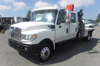 Used 2014 International TerraStar Diesel 8.5 Foot Flat Deck with a Crane and Fifth Wheel Hitch 4WD for sale in Burnaby, BC
