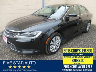 Used 2015 Chrysler 200 LX *Clean Carfax* Certified w/ 6 Month Warranty for sale in Brantford, ON