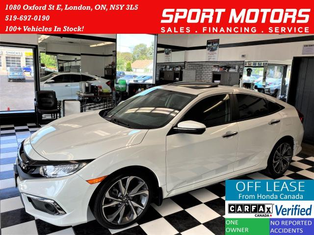 2019 Honda Civic Touring+Leather+Roof+Lane Keep+Apple+Accident Free