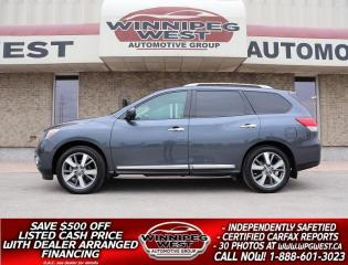 Used 2013 Nissan Pathfinder PLATINUM 7 PASS LEATHER,PAN ROOF, DVD, NAV, LOCAL! for sale in Headingley, MB