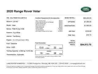 New 2020 Land Rover Range Rover Velar R-Dynamic HSE for sale in Winnipeg, MB