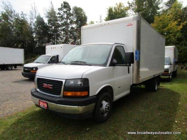 "2019 GMC G3500 CARGO MOVING 3500 SERIES 2 PASSENGER 6.0L - VORTEC ENGINE.. 10'6"" FOOT-HEIGHT.. AIR CONDITIONING.. AUX INPUT.. TOW SUPPORT.."
