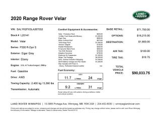 New 2020 Land Rover Range Rover Velar R-Dynamic S for sale in Winnipeg, MB
