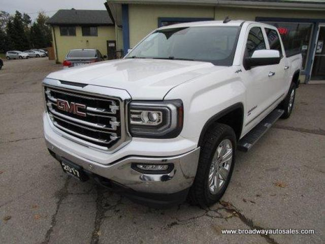 2017 GMC Sierra 1500 LOADED SLT MODEL 5 PASSENGER 5.3L - VORTEC.. 4X4.. CREW-CAB.. SHORTY.. E-ASSIST.. NAVIGATION.. LEATHER.. HEATED/AC SEATS.. POWER PEDALS.. BOSE AUDIO..