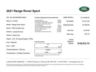 New 2021 Land Rover Range Rover Autobiography Dynamic for sale in Winnipeg, MB