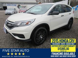 Used 2015 Honda CR-V LX *NO ACCIDENTS* Certified w/ 6 Month Warranty for sale in Brantford, ON