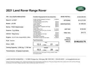 New 2021 Land Rover Range Rover WESTMINSTER for sale in Winnipeg, MB