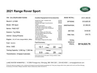 New 2021 Land Rover Range Rover Sport HST for sale in Winnipeg, MB
