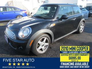 Used 2010 MINI Cooper Base *Clean Carfax* Certified w/ 6 Month Warranty for sale in Brantford, ON