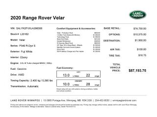 New 2020 Land Rover Range Rover Velar R-Dynamic S for sale in Winnipeg, MB