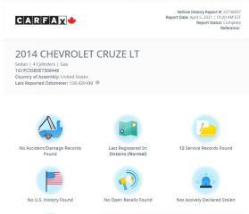 Used 2014 Chevrolet Cruze 1LT Back Up Cam} WE FINANCE! for sale in Mississauga, ON