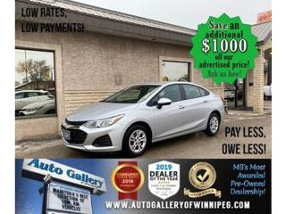 Used 2019 Chevrolet Cruze LS* Low Kilometers/Reverse Camera/APPLE CARPLAY for sale in Winnipeg, MB