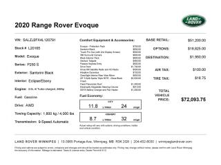 New 2020 Land Rover Evoque S for sale in Winnipeg, MB