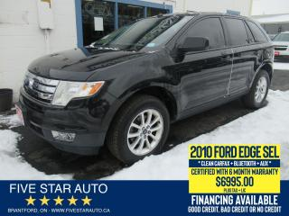 Used 2010 Ford Edge SEL *Clean Carfax* Certified w/ 6 Month Warranty for sale in Brantford, ON