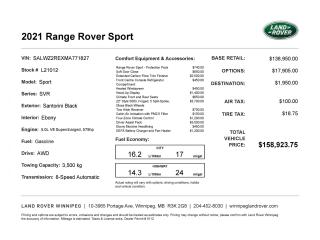 New 2021 Land Rover Range Rover SPORT for sale in Winnipeg, MB