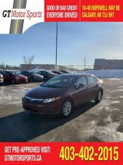 Used 2012 Honda Civic EX   $0 DOWN - EVERYONE APPROVED! for sale in Calgary, AB
