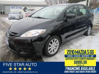 Used 2010 Mazda MAZDA5 GS 6 Seater - Certified w/ 6 Month Warranty for sale in Brantford, ON